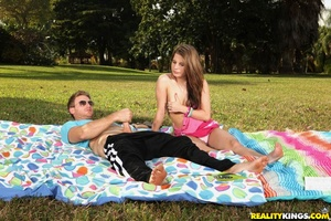 Beautiful teen with small milk sacks Maxi Wazoo bonked at the picnic