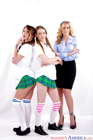 MILF Julia Ann screws sexual schoolgirls Samantha Hayes and JoJo Kiss