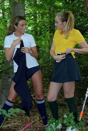 Adolescent girl-on-girl schoolgirls Lucy-Anne Brooks and Natalia Forrest