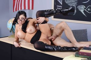 Juggy teacher in glasses gives a titjob and gains screwed for a facial