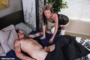Sexually excited housewife slave in nylons giving a hand gig to a gentleman at the same time as he\'s sleeping