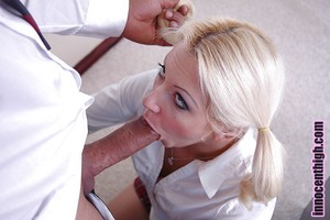 Astonishing golden-haired schoolgirl Kylie giving a profound sloppy cocksucking