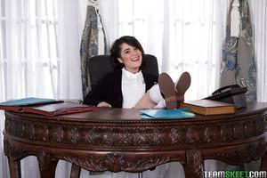 Amateur schoolgirl Cadence Carter posing in skirt and knee high white socks