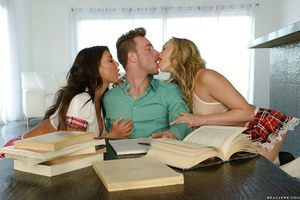 Adolescent schoolgirl strumpets August Taylor and Mia Malkova blow jock and balls