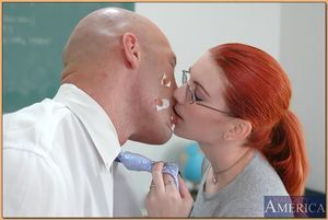 Fiery redheaded coed in glasses getting her bald wet crack dicked