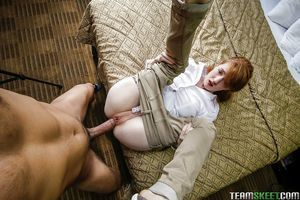 Redheaded youthful cunt Abbey Rain chokes down heavy wang POV style