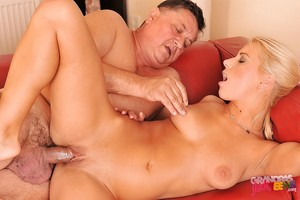 Horny juvenile babe Nikky Thorne receives her tense cage of love slammed by an oldman