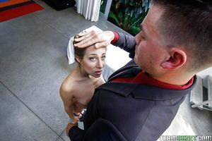 Teen chicito Cassidy Klein falls her bald pussy over a cock and rides