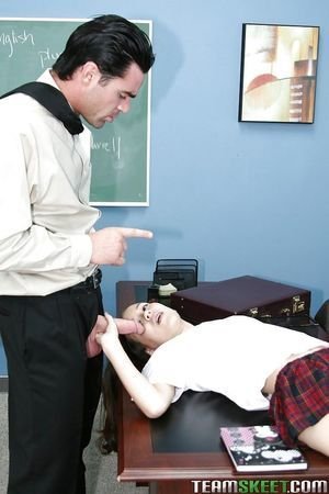 Infant schoolgirl Amai Liu taking teacher\'s pride in throat and stream of cum on face