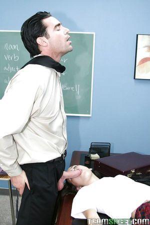 Infant schoolgirl Amai Liu taking teacher\'s pride in throat and stream of cum on face