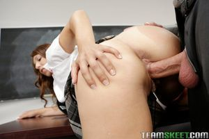 Ejaculation scene featuring teen an a fascinating school uniform Ariana Grand