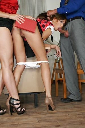 Unpitying schoolgirl gets involved into FFM groupsex by her sexually intrigued teachers