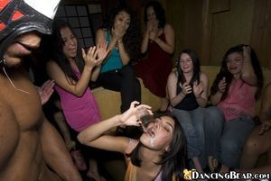Titsy coed sweethearts do blowjobs to a sexy stripper on a get-together