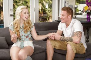 Teen blond Samantha Rone is licking and taking in to accept hot cock juice