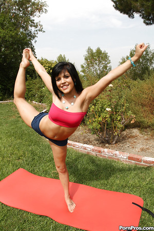Infant princess Chloe Dash getting passionate and without clothes during the time that practicing yoga