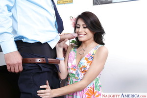Latina chicito coed Kira Adams seduces older stud with blowjob in office