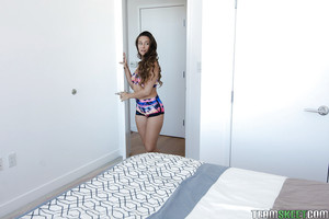 Youthful teen solo lass Cassidy Klein inserting sex-toy likes filthy chocolate hole