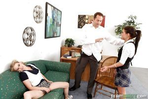 Tasty schoolgirl whores Tati and Taylor fondle their divine love-cages