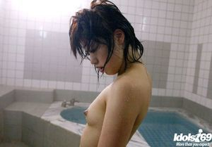 Sweet eastern youthful doll with insignificant billibongs Hitomi Hayasaka tempting shower