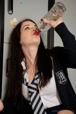 Exclusively legal brunette schoolgirl Jessica-Ann Fegan getting drunk and stripped