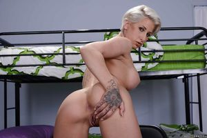 Lusty golden-haired bombshell Dylan Phoenix showing off her naugthy breaking through