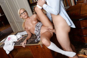 Glasses garments blonde Euro schoolgirl Candee Licious getting adolescent slit drilled