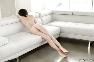 Beautiful girlfriend with fine butt Cadence Carter posing in short panties