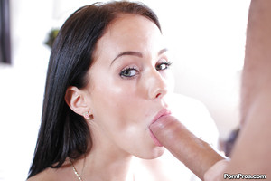 Infant pretty Megan Rain tempting pink tongue to large penis for sperm eating