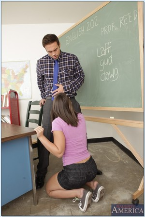 Coed with small breasts Mischa Brooks pleases her tutor with her gentile
