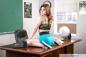 Spectacular coed Leah Gotti takes her clothes off for stripped photos in classroom