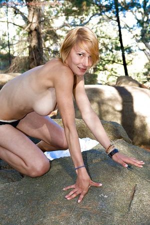 Golden-haired number one timer Chanel stripped off nude in the woods ad expands furry pussy