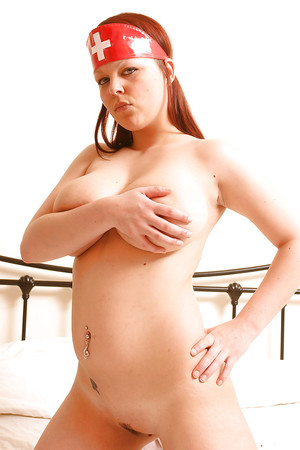 Curvy juvenile lass Ruby stripped off off untamed nurse suit and pets breasts