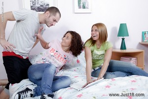Simply legal legal age teenagers Francheska and Lara D swapping semen after backdoor copulation