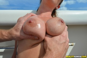 Busty youthful floozy Alice Lighthouse takes big dick in tight a-hole in public pics