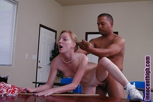 Schoolgirl golden-haired Alexa has a pitiless interracial fucking action on the desk