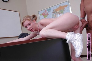 Schoolgirl golden-haired Alexa has a pitiless interracial fucking action on the desk