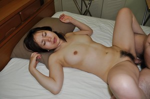Lusty Chinese young Satsuki Okuno gives head and accepts her bushy muff cocked up