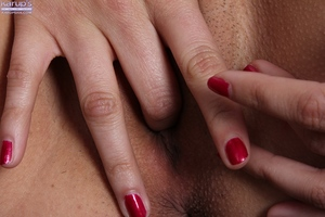 Marvelous Latin chico Lucy James jilling shiny on top muff to reach top of pleasure