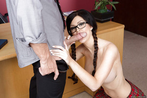 Gonzo porn scene featuring a R/L schoolgirl brunette hair Kendall Karson