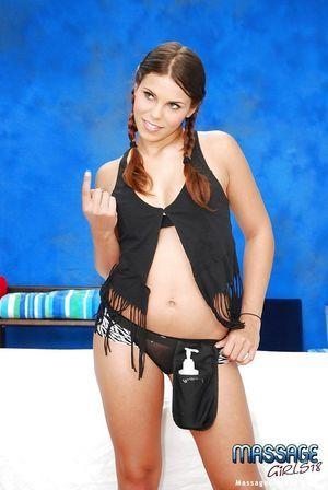 Tiny swarthy underwear are so glamorous on figure of youthful pretty Izy