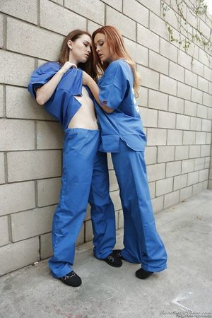 Karlie and Misha Cross are humping in the jail for a first time