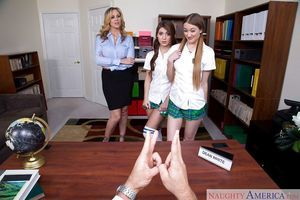 Girl-on-girl schoolgirls and their blond daddy take in principal\'s giant cock
