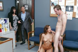 Naughty student Keisha Grey sucking cock and cum in teacher\'s office