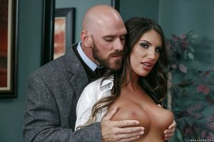 Bosomy schoolgirl pornstar August Ames engaging teacher\'s heavy cock on desk