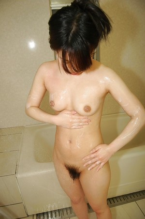 Immensely diminutive oriental youthful Masako Kosaka lovely shower and caressing she is