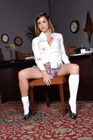 Gorgeous hottie in school uniform Keisha Grey showing off in category