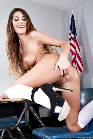 Masturbating activity from a sweet schoolgirl with gigantic apples August Ames