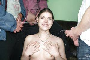 Passionate european lass gains blowbanged and urinated on by four horny men