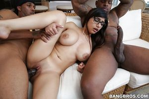 Mia Khalifa and her excellent largest bra buddies take part in a damp interracial Male+Male+Female