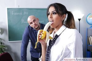 Pigtailed Latina schoolgirl Sophia Leone sucks off her patriarch for grades